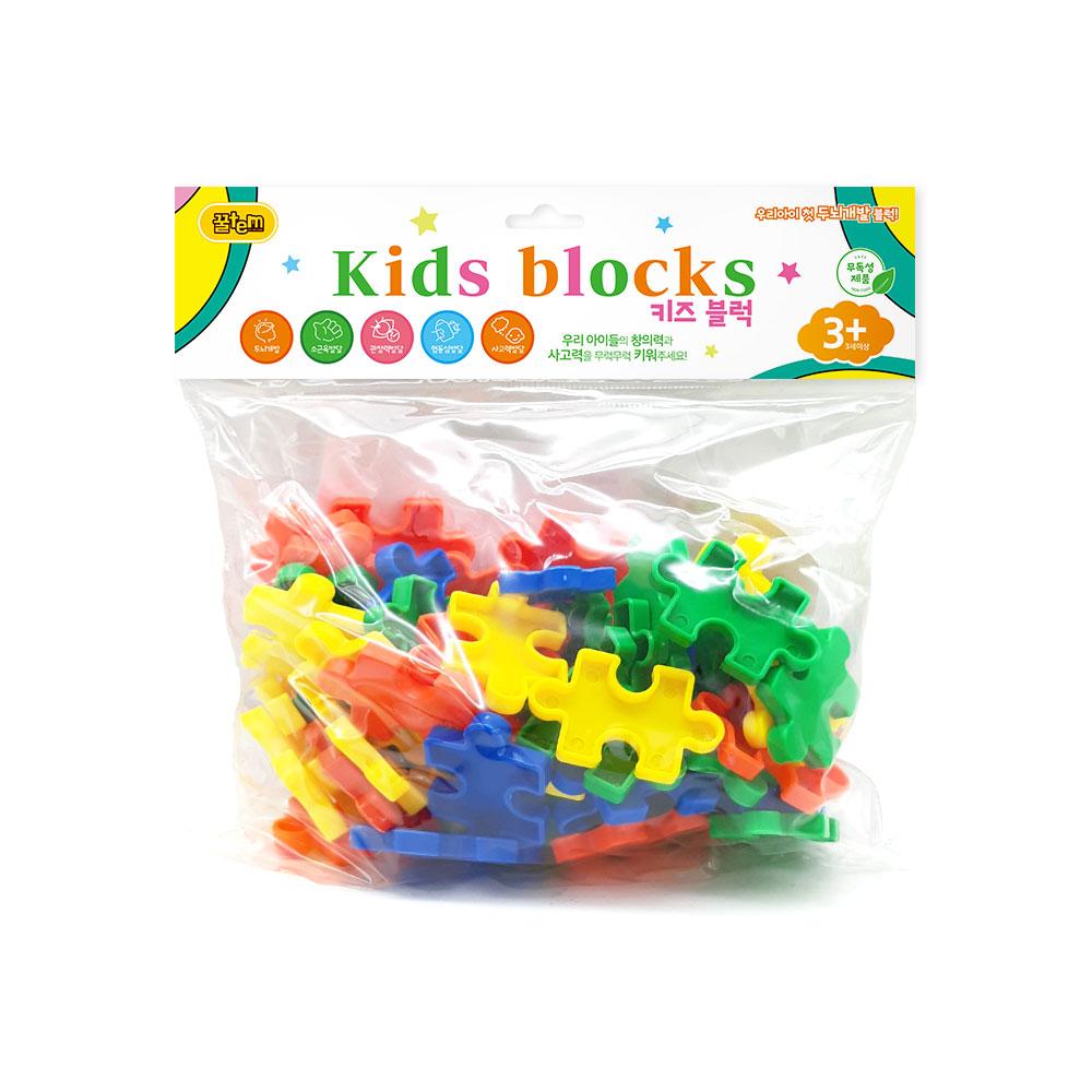꿀템스토어 퍼즐블럭 블럭놀이 유아블럭 유아장난감(64PCS)